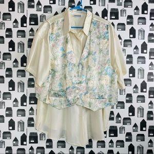 Adrian Jordan | Women's Vintage Floral Vest Blouse
